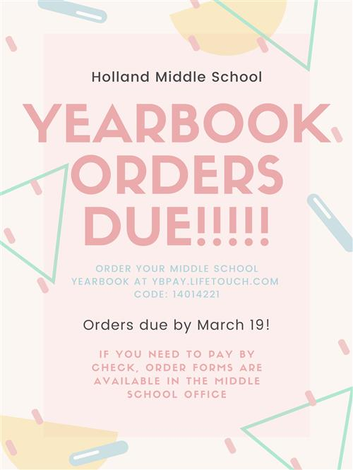 Middle School Year Book Orders