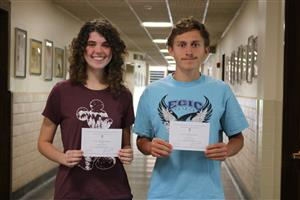 Renee Wright and Grady Regan with their Commended Scholar Certificates