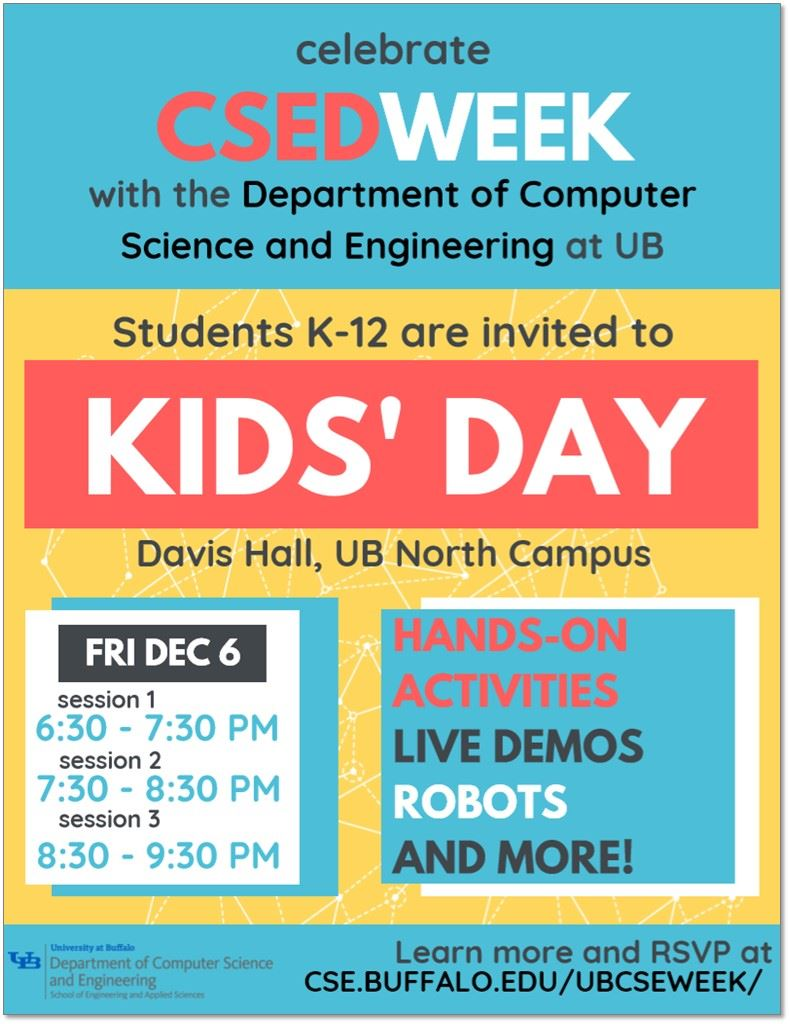 Celebrate Computer Science Education Week at UB's CSE Kids' Day Event